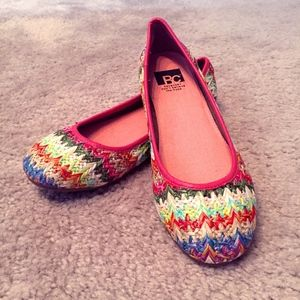 BC Footwear Multi-Colored Crochet Style Flats